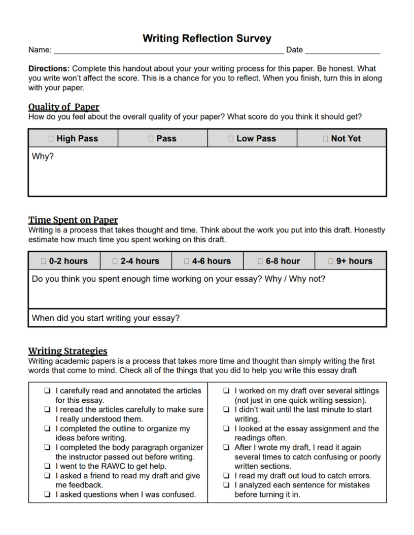 Document for students to fill out about their paper.